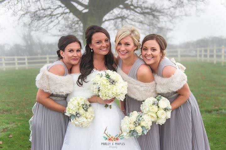 winter wedding flowers, whites and greys