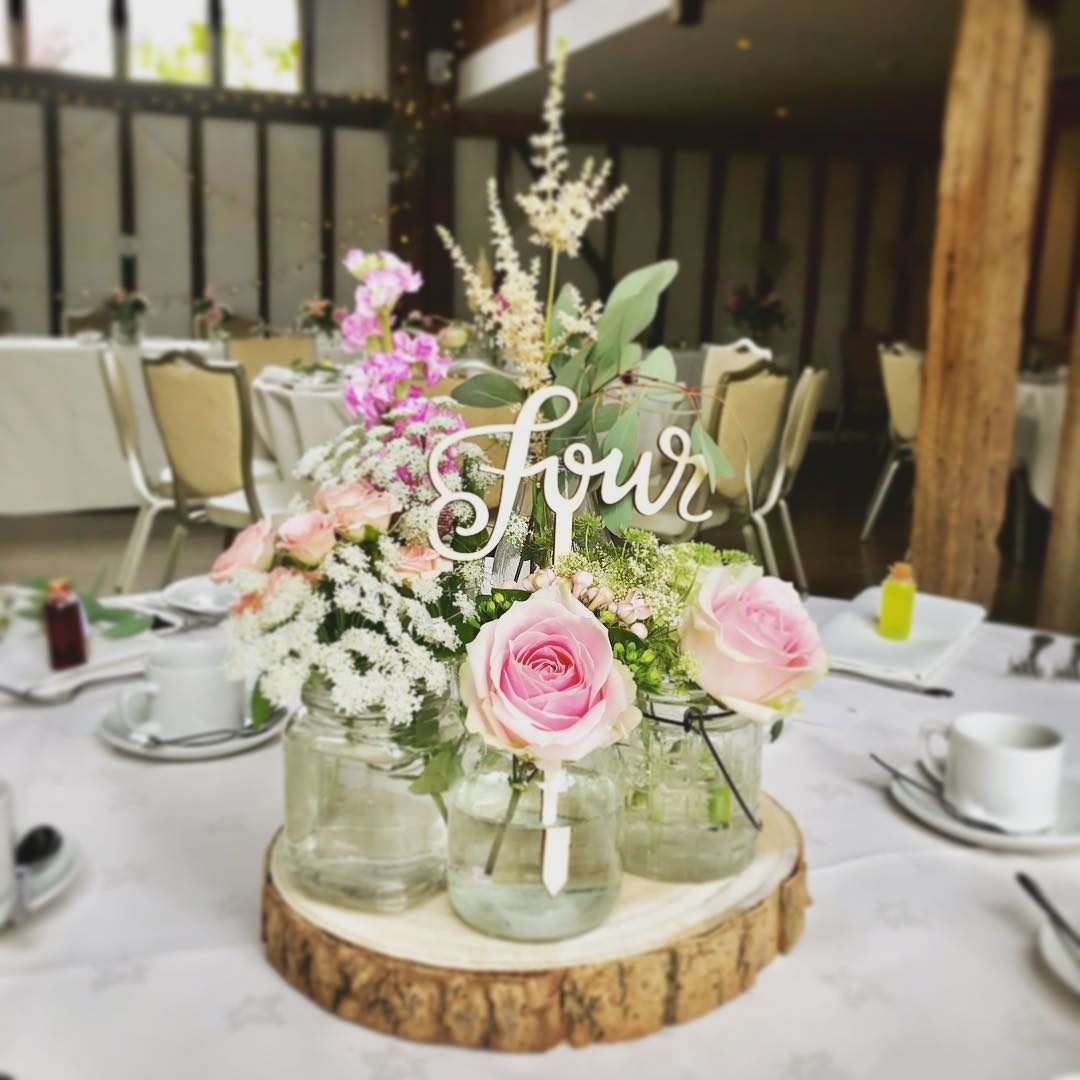 Jam Jar Centre Pieces- Maidens Barn Wedding Venue, Essex